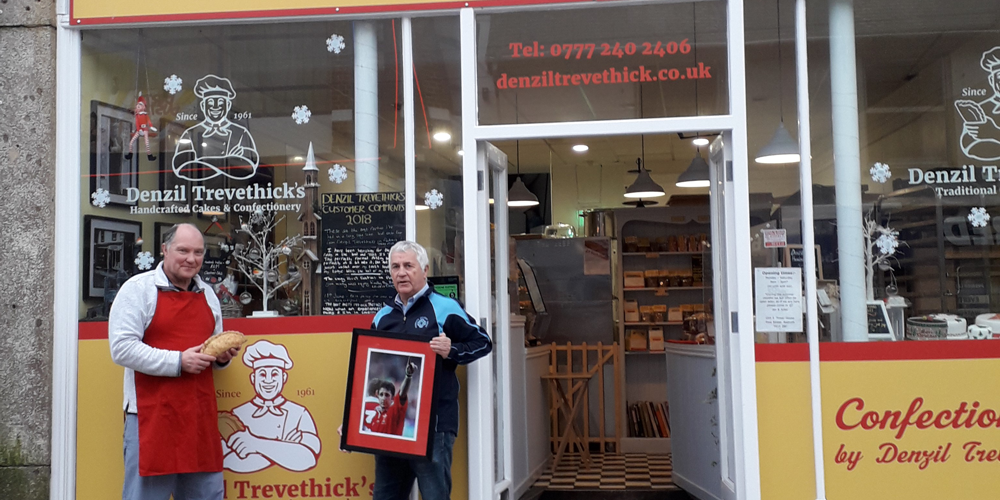 REDRUTH CHARITY TRUST SENDS RUGBY LEGEND CORNISH PASTIES